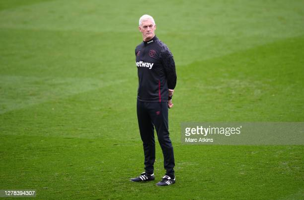Alan Irvine, Coach of West Ham United looks on prior to the Premier League match between Leicester City and West Ham United at The King Power Stadium...