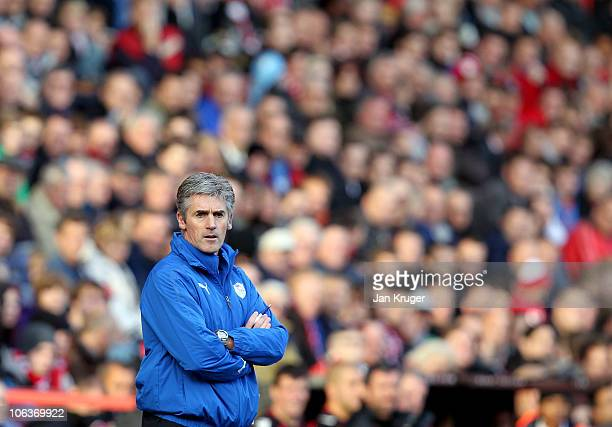 Alan Irvine, Manager of Sheffield Wednesday, looks on during the npower league one match, at The Valley on October 30, 2010 in London, England.