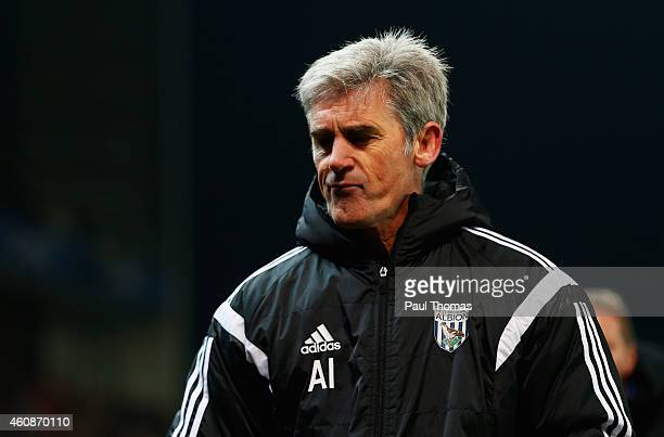 Alan Irvine manager of West Bromwich Albion looks thoughtful after the Barclays Premier League match between Stoke City and West Bromwich Albion at...