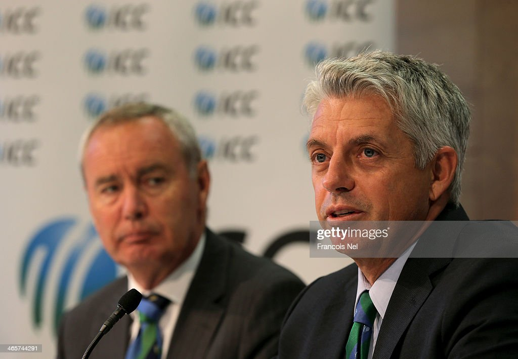 Alan Isaac (L) , President of the ICC and David Richardson (R), Chief Executive of the ICC speaks to the media during the ICC press conference after a two day board meeting at the ICC Headquarters in Dubai Sports City on January 29, 2014 in Dubai, United Arab Emirates.
