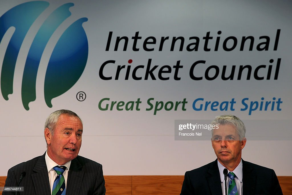 Alan Isaac (L), President of the ICC and David Richardson (R) , Chief Executive of the ICC speaks to the media during the ICC press conference after a two day board meeting at the ICC Headquarters in Dubai Sports City on January 29, 2014 in Dubai, United Arab Emirates.