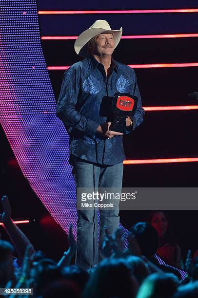 Alan Jackson accepts award onstage during the 2014 CMT Music awards at the Bridgestone Arena on June 4 2014 in Nashville Tennessee