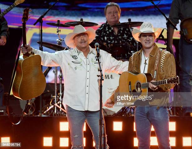 Alan Jackson and Jon Pardi perform during the 53rd Academy of Country Music Awards at MGM Grand Garden Arena on April 15 2018 in Las Vegas Nevada