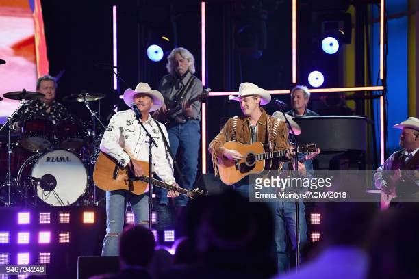 Alan Jackson and Jon Pardi perform on stage at the 53rd Academy of Country Music Awards at MGM Grand Garden Arena on April 15 2018 in Las Vegas Nevada