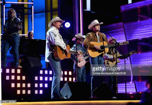 Alan Jackson and Jon Pardi perform on stage the 53rd Academy of Country Music Awards at MGM Grand Garden Arena on April 15 2018 in Las Vegas Nevada