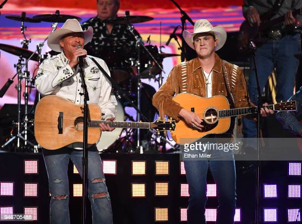 Alan Jackson and Jon Pardi perform onstage during the 53rd Academy of Country Music Awards at MGM Grand Garden Arena on April 15 2018 in Las Vegas...