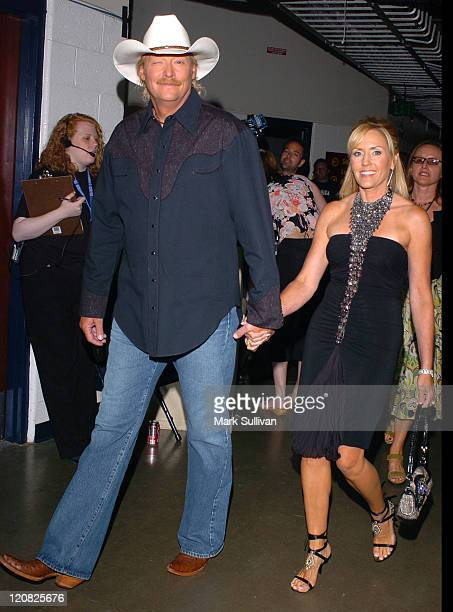 Alan Jackson and wife Denise during 2005 CMT Music Awards Backstage at Gaylord Entertainment Center in Nashville Tennessee United States