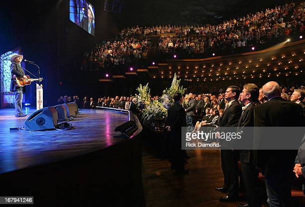 Alan Jackson performs at the funeral service for George Jones at The Grand Ole Opry on May 2 2013 in Nashville Tennessee Jones passed away on April...