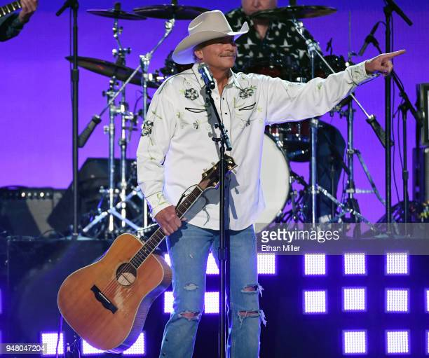 Alan Jackson performs during the 53rd Academy of Country Music Awards at MGM Grand Garden Arena on April 15 2018 in Las Vegas Nevada