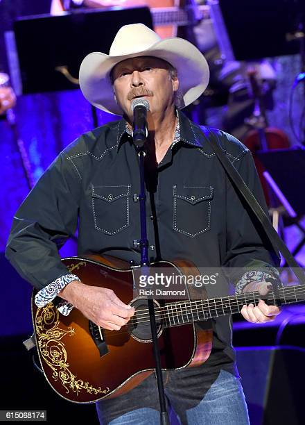 Alan Jackson performs 'On the Other Hand' to honor Randy Travis onstage during the 2016 Medallion Ceremony at Country Music Hall of Fame and Museum...