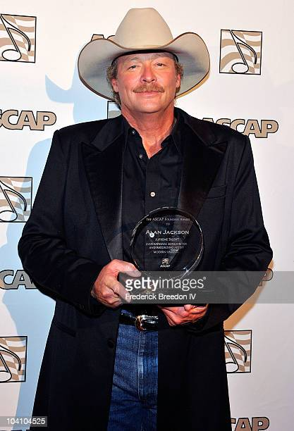 Alan Jackson poses with ASCAP's Founders Award at the 48th Annual ASCAP Country Music Awards at War Memorial Auditorium on September 14 2010 in...