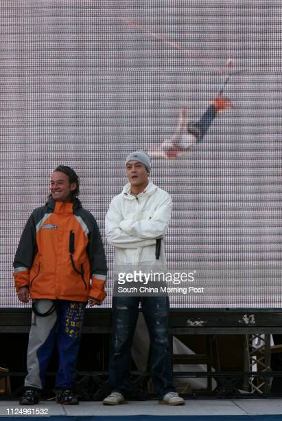 Alan John Hackett and Edison Chen Koonhei celebrate their new Guinness World Records the highest bungee jump from a building and the highest...