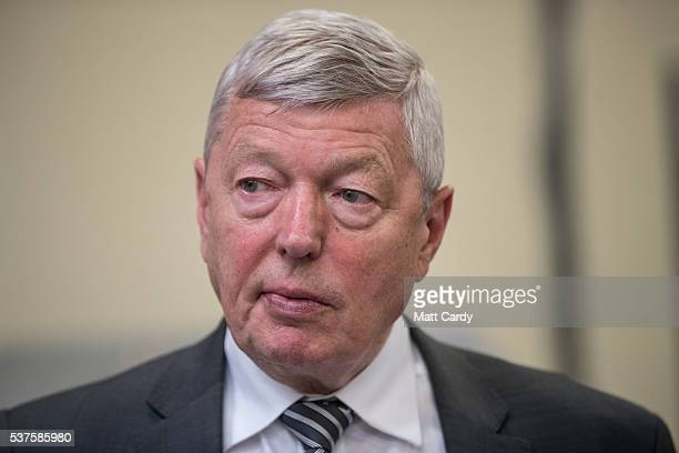Alan Johnson Labour MP and former Home Secretary during a visit to a proEU company Pollards Printers with the the Labour IN for Britain campaign...