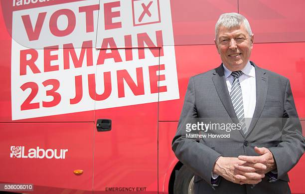 Alan Johnson Labour MP and former Home Secretary poses for a picture during a visit to Barry with the the Labour IN for Britain campaign battle bus...