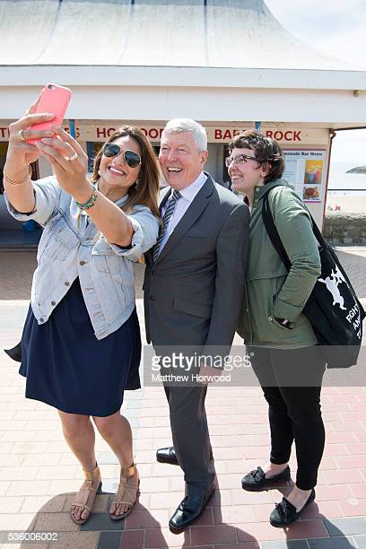 Alan Johnson Labour MP and former Home Secretary poses for a selfie during a visit to Barry with the the Labour IN for Britain campaign battle bus on...