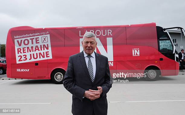 Alan Johnson MP chair of the Labour In for Britain campaign meets members of the media as he visits the Hitachi Rail Europe site with the Labour In...