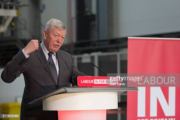 Alan Johnson who is leading Labour's proEU campaign gives a speech at Airbus on February 23 2016 in Bristol England The former Home Secretary and...