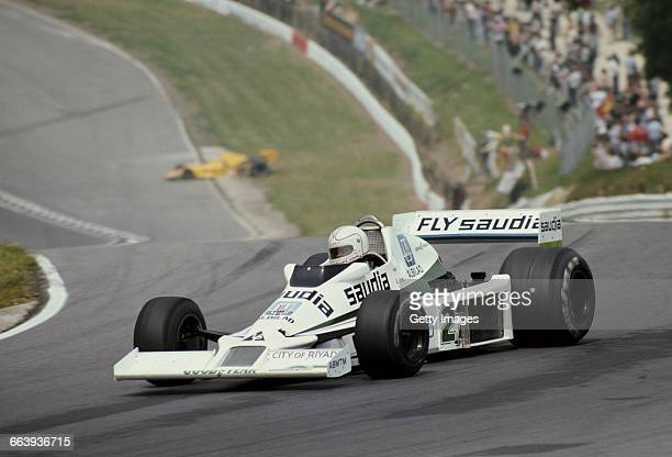 Alan Jones drives the Williams Grand Prix Engineering Williams FW06 Ford Cosworth during the British Grand Prix on 16 July 1978 at the Brands Hatch...