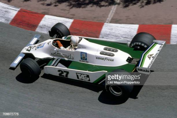 Alan Jones of Australia in action driving a Williams FW07 with a Ford V8 engine for the AlbiladSaudia Racing Team during the Monaco Grand Prix in...