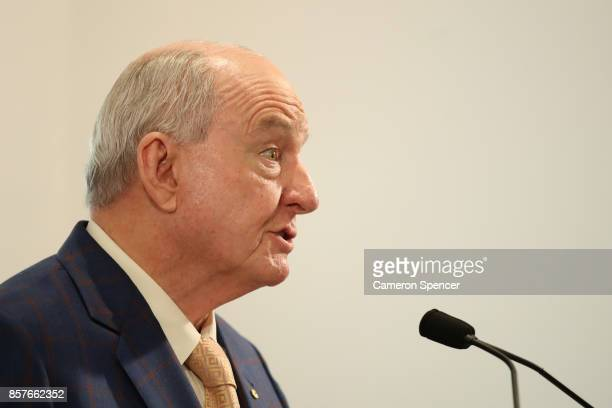 Alan Jones talks during the launch of Mark Latham's new book 'Outsiders I won't be silenced' on October 5 2017 in Sydney Australia The former Leader...