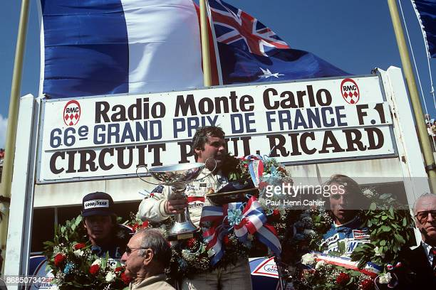 Alan Jones WilliamsFord FW07B Grand Prix of France Circuit Paul Ricard 29 June 1980 Alan Jones enjoying his Grand Prix victory in the 1980 Grand Prix...