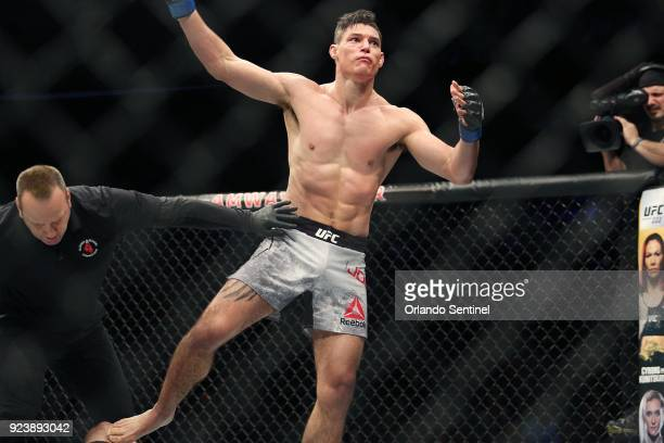 Alan Jouban celebrates after a win during UFC Fight Night at the Amway Center in Orlando Fla on Saturday Feb 24 2018