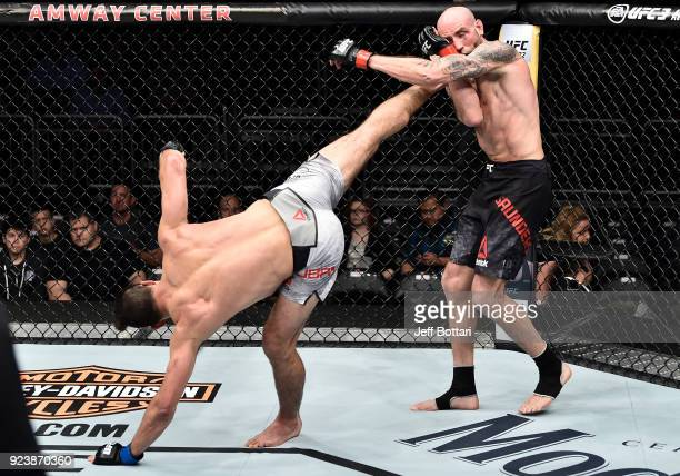Alan Jouban kicks Ben Saunders in their welterweight bout during the UFC Fight Night event at Amway Center on February 24 2018 in Orlando Florida