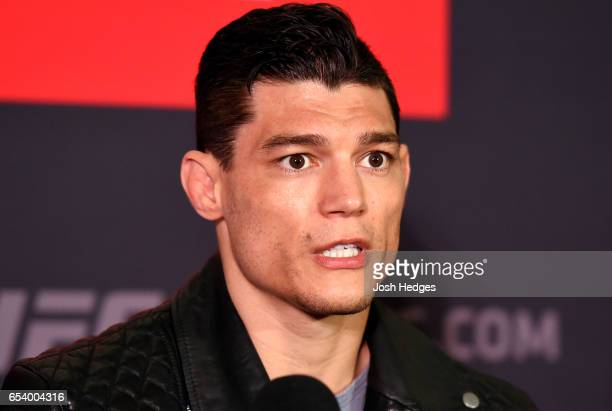 Alan Jouban of the United States interacts with media during the UFC Ultimate Media Day at Glaziers Hall on March 16 2017 in London England