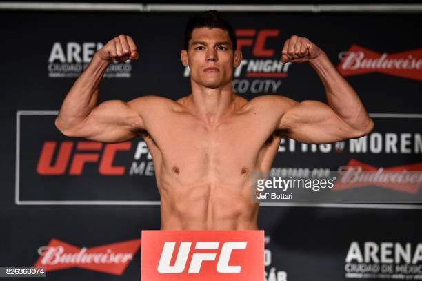 Alan Jouban of the United States poses on the scale during the UFC Fight Night weighin inside the W Hotel on August 4 2017 in Mexico City Mexico