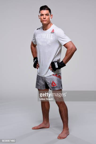 Alan Jouban poses for a portrait during a UFC photo session on February 21 2018 in Orlando Florida