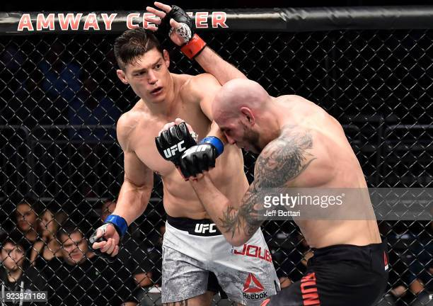Alan Jouban punches Ben Saunders in their welterweight bout during the UFC Fight Night event at Amway Center on February 24 2018 in Orlando Florida