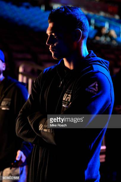 Alan Jouban waits backstage during the UFC Fight Night Weighins at Amway Center on February 23 2018 in Orlando Florida