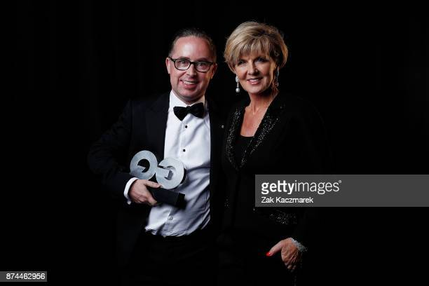 Alan Joyce and Julie Bishop backstage at the GQ Men Of The Year Awards at The Star on November 15 2017 in Sydney Australia