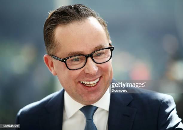 Alan Joyce chief executive officer of Qantas Airways Ltd attends a news conference in Sydney Australia on Thursday Feb 23 2017 Qantas' firsthalf...
