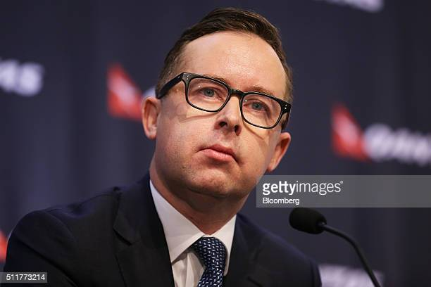 Alan Joyce chief executive officer of Qantas Airways Ltd pauses during a news conference in Sydney Australia on Thursday Feb 23 2016 Qantas posted a...