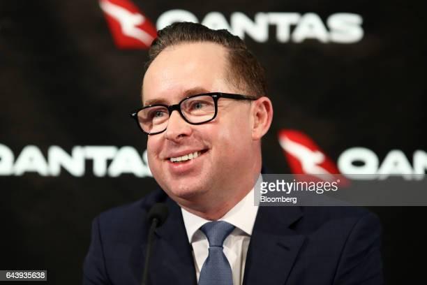 Alan Joyce chief executive officer of Qantas Airways Ltd smiles during a news conference in Sydney Australia on Thursday Feb 23 2017 Qantas'...