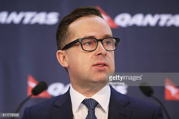 Alan Joyce chief executive officer of Qantas Airways Ltd speaks during a news conference in Sydney Australia on Thursday Feb 23 2016 Qantas posted a...
