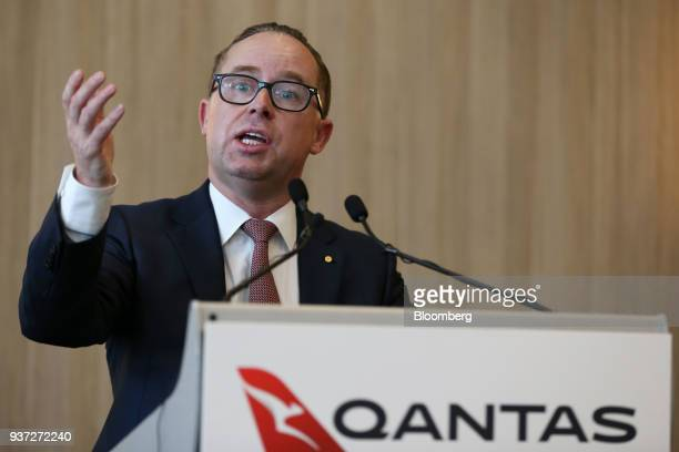Alan Joyce chief executive officer of Qantas Airways Ltd speaks during a media event ahead of the company's inaugural flight to London at Perth...