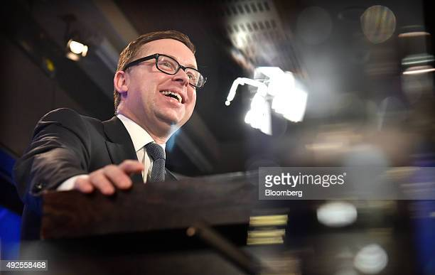 Alan Joyce chief executive officer of Qantas Airways Ltd speaks at the National Press Club in Canberra Australia on Wednesday Oct 14 2015 Qantas in...