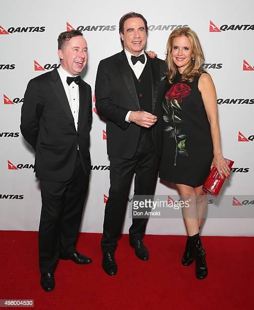 Alan JoyceJohn Travolta and Kelly Preston arrive at the QANTAS 95th Birthday Gala Celebration at Hangar 96 in the Qantas Jetbase on November 20 2015...