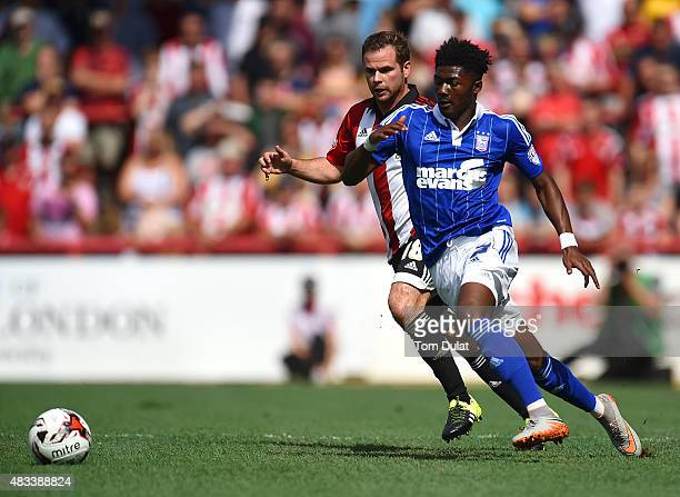 Alan Judge of Brentford and Ainsley MaitlandNiles of Ipswich Town in action during the Sky Bet Championship match between Brentford and Ipswich Town...