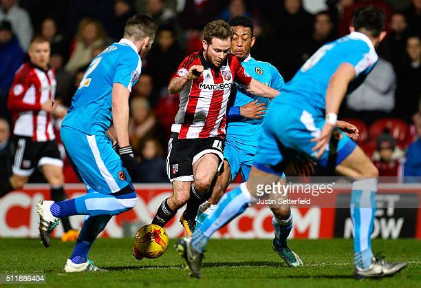 Alan Judge of Brentford FC in action during the Sky Bet Championship match between Brentford and Wolverhampton Wanderers on February 23 2016 in...