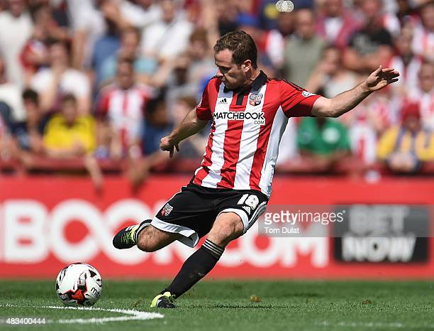 Alan Judge of Brentford in action during the Sky Bet Championship match between Brentford and Ipswich Town at Griffin Park on August 8 2015 in...