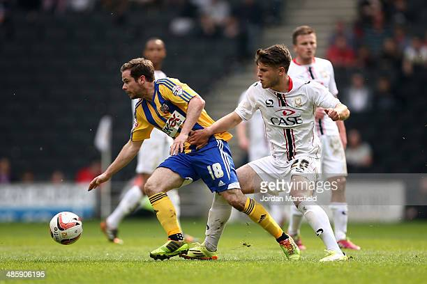 Alan Judge of Brentford tackles with Giorgio Rasulo of MK Dons during the Sky Bet League One match between MK Dons and Brentford at Stadium mk on...