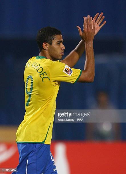 Alan Kardec of Brazil celebrates after scoring the opening goal during the FIFA U20 World Cup Semi Final match between Brazil and Costa Rica at the...