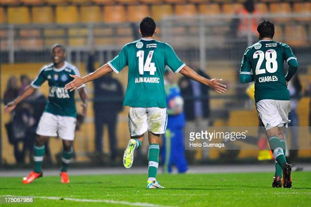 Alan Kardec of Palmeiras celebrates a scored goal during the match between Palmeiras and Icasa for the Brazilian Championship serie B 2013 at...