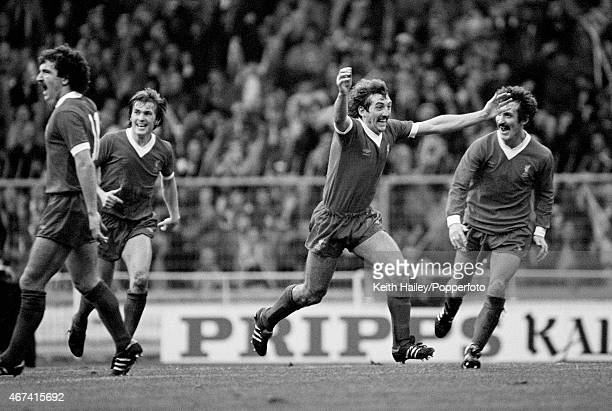 Alan Kennedy celebrates after scoring in extratime for Liverpool during the League Cup Final between West Ham United and Liverpool at Wembley Stadium...