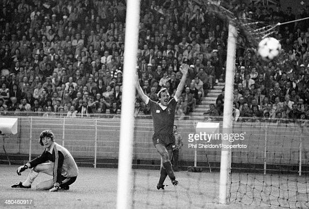 Alan Kennedy of Liverpool celebrates as his shot goes past Real Madrid goalkeeper Augustin Rodriguez and into the net for the winning goal in the...