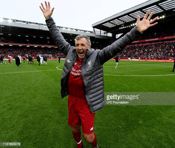 Alan Kennedy of Liverpool FC Legends showing his appreciation to the fans at the end of the friendly match between Liverpool FC Legends and AC Milan...