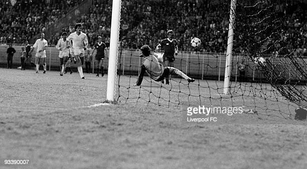 Alan Kennedy of Liverpool scores the winning goal during the European Cup Final between Liverpool and Real Madrid held on May 27 1981 at the Parc des...